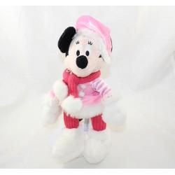 Peluche Minnie DISNEYLAND PARIS tenue rose hiver gant blanc neige 28 cm
