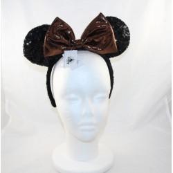 Serre-tête Minnie DISNEY PARKS oreilles de Minnie Mouse sequins noir marron