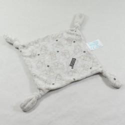 Doudou plat Winnie l'ourson DISNEY CARREFOUR carré gris noir 4 noeuds Pooh 19 cm