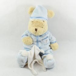 Winnie cub bear DISNEY STORE pyjama blue handkerchief crest 38 cm