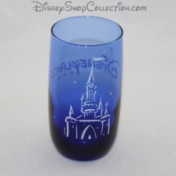WATER glass DISNEYLAND PARIS blue castle Disney 13 cm