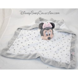 Doudou plat Minnie NICOTOY Disney lange blanc gris 36 cm