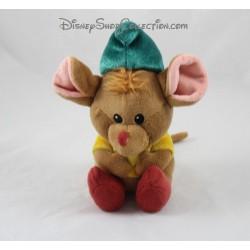 Peluche Gus Gus ratón DISNEY STORE Cenicienta Animator marrón verde 16 cm