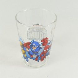 Verre Super Hero Squad DISNEY MARVEL Captain America Wolverine Spider-Man Amora moutarde