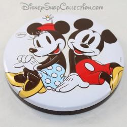 Disney Mickey y Minnie caja redonda de metal en relieve caja de galletas 3D 18 cm