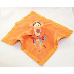Doudou plat Tigrou DISNEY STORE Winnie l'ourson Tigger 123 bords satin orange