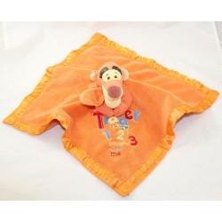Doudou plat Winnie l'ourson DISNEY STORE Tigger and Pooh bords satin bleu