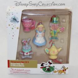 Minis Sketchbook ornamenti DISNEY STORE Alice nel Paese delle Meraviglie Decorazione natalizia 5 figurine