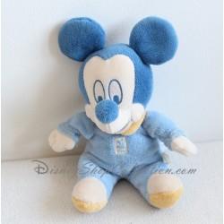 Peluche Mickey DISNEY BABY bleu collerette jaune 21 cm