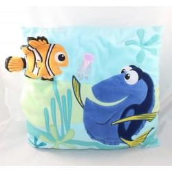 Coussin poisson Nemo DISNEYLAND PARIS Le Monde de Nemo Dory bleu carré 32 cm