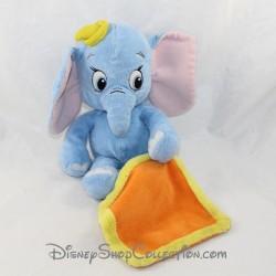 Peluche mouchoir Dumbo NICOTOY Disney bébé bleu chapeau jaune 26 cm