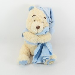 Peluche Winnie l'ourson DISNEY STORE It's a boy couverture bleu écusson 34 cm