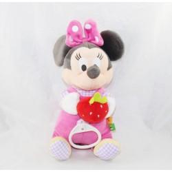 Peluche musicale Minnie DISNEY NICOTOY fraise salopette rose vichy 27 cm