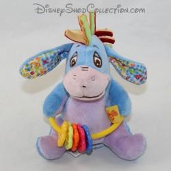 Peluche Bourriquet DISNEY BABY rattle blue bell 13 cm