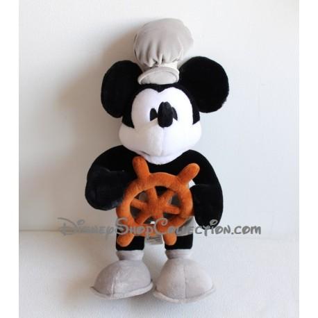 Peluche Mickey DISNEYLAND PARIS noir et blanc Mickey commandant 48 cm