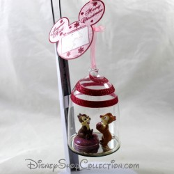 Boule de Noël en verre DISNEYLAND PARIS Tic et tac ornement rose pailleté Disney 9 cm