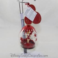 Boule de Noël en verre DISNEYLAND PARIS Fée clochette ornement rouge pailleté Disney 10 cm
