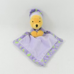 Doudou plat Winnie l'ourson DISNEY NICOTOY losange luminescent violet 30 cm