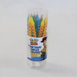Lot de 16 bougies Toy Story DISNEY bougies et bobêches pour gâteau anniversaire