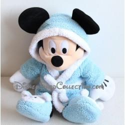 Peluche Mickey DISNEYLAND PARIS peignoir pyjama chausson bleu ours 42 cm