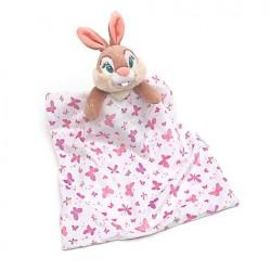 Doudou lapin Miss Bunny DISNEY STORE layette rose blanc rayé couverture papillon 36 cm
