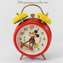 Réveil mécanique Mickey AVRONEL WALT DISNEY PRODUCTION rouge et jaune