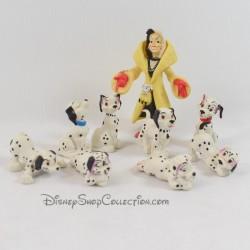 Ensemble de 9 figurines Les 101 Dalmatiens DISNEY pvc chiens avec Cruella d'enfer