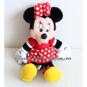 Plush Minnie DISNEYLAND PARIS red pea dress white Disney 28 cm