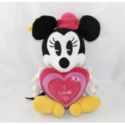 Peluche Minnie DISNEY NICOTOY coeur I love U rose 30 cm