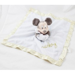Doudou plat Mickey DISNEY STORE blanc doré pois bords satin 32 cm