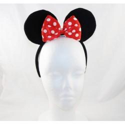Serre-tête à oreilles de Minnie DISNEY noeud rouge pois blanc fin