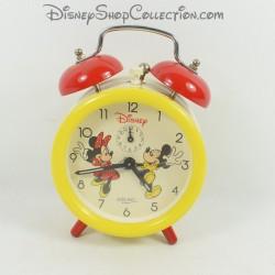 Réveil Mickey Minnie DISNEY AVRONEL vintage jaune beige rouge