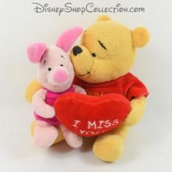 Peluche Winnie l'ourson et Porcinet DISNEY I miss you coeur rouge 20 cm