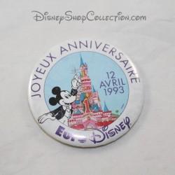 Feliz cumpleaños insignia EURO DISNEY Mickey 12 de abril de 1993