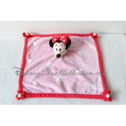 Doudou plat Minnie DISNEYLAND PARIS carré rose fleurs rouge pois blanc