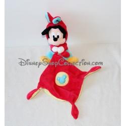 Doudou mouchoir Mickey NICOTOY DISNEY déguisé en lapin bleu rouge 3 noeuds