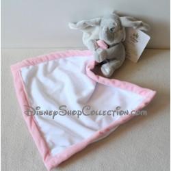 Doudou éléphant Dumbo DISNEY STORE bébé gris mouchoir blanc et rose