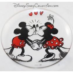 Assiette en verre DISNEY Mickey et Minnie bisous