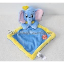 Doudou plat Dumbo DISNEY NICOTOY bleu jaune éléphant ballon 30 cm