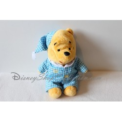 Peluche Winnie l'ourson DISNEY pyjama bleu à carreaux 25 cm