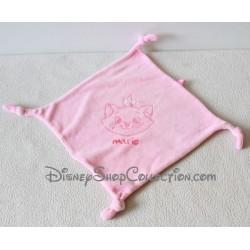 Doudou plat chat Marie DISNEY CARREFOUR Les Aristochats rose carré 4 noeuds 21 cm