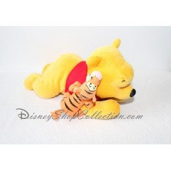 "Doudou Plat Ours Winnie L'ourson DISNEY STORE satin rose ""Lots of love Pooh & friends"""