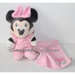 Doudou âne Bourriquet NICOTOY capuche et mouchoir rose et bleu Disney