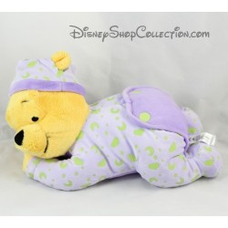 Peluche Winnie DISNEY NICOTOY Winnie l'ourson allongé violet phosphorescent lune 30 cm