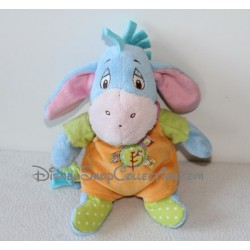 Peluche Bourriquet DISNEY BABY ami de Winnie L'ourson salopette orange rond vert oiseau 20 cm
