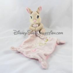 Doudou mouchoir lapin Miss Bunny DISNEY NICOTOY Pretty Miss Bunny papillon doré 14 cm