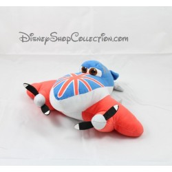 Peluche Bulldog avion DISNEY Planes Nicotoy  Scottish rouge et bleu 24 cm