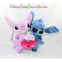 Peluche Angel et Stitch DISNEYLAND PARIS Lilo et Stitch coeur I love you Disney 22 cm