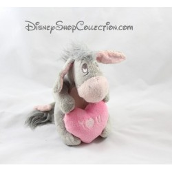 Peluche Bourriquet DISNEYLAND PARIS gris coeur rose You Disney 17 cm