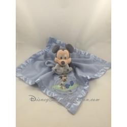Doudou plat Mickey DISNEY STORE bleu bords satin Mickey et son ourson 33 cm